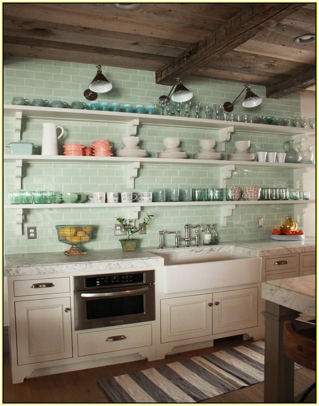 Cocina azulejo mint y blanca